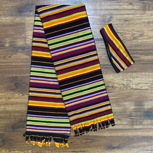 Fleece Scarf and Ear Band Set, Multicolor Stripes
